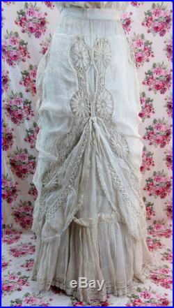 1800s Victorian Skirt Victorian Lace Skirt Antique 1800s Skirt Bridal Skirt Luscious Lace Embroidery Sheer Lawn Skirt