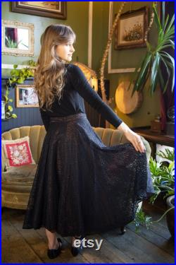 1920s Moire Taffeta Silk and Lace Skirt VOGUE CREATIONS Victorian Maxi Skirt High Waisted Petticoat Formal Event