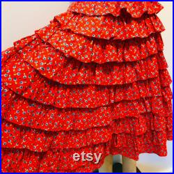 1930's 1940's True Vintage Handmade 9 Tiered Gathered Full Floral Circle Skirt