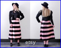 1930 s striped satin skirt. XS. 40 pink and black skirt. wide stripes.