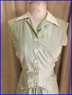 1940s Pinstriped Ensemble vintage skirt blouse XS green and white Dudley casuals pin-up retro rockabilly troppobella