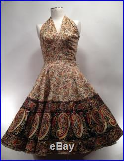 1950's Halter 2-Piece Pin-Up Dress with Sequined Paisley Patterned Border Print Size Medium
