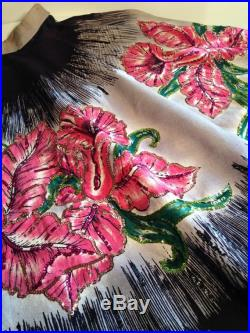1950's Mexican Full Circle Skirt ORCHID BORDER PRINT Hand Painted Sequins 25-1 2 inch Waist