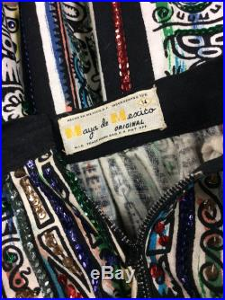 1950's Mexican full circle colorful skirt with sequins