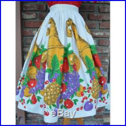 1950s 50s Cornucopia Fruity Fruit Vibrant Cotton novelty skirt with secure button closure, metal zipper, darling pleating vlv thanksgiving