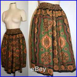 1950s Circle Skirt Full Skirt Davis and Catterall Print colorful on Black 26 waist 102 Inch Sweep