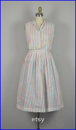 1950s Dress Set Sweet 50s Peach and Blue Striped Skirt and Blouse Set Size XS 1950s Skirt Set