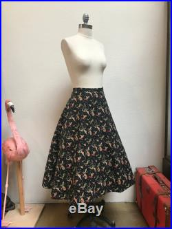1950s Novelty Cat and Kangaroo Jazz Musician Print Cotton Quilted Skirt