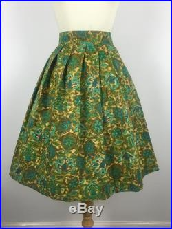 1950s Vintage Full Skirt 50s Cotton Green Yellow Abstract Floral Pleated Swing Skirt Medium UK 12 US 8 EU 40
