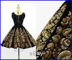 1950s hand painted set velvet Mexican circle skirt xs