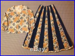 1960's, A-line, maxi-skirt, and blouse, set, in blue velvet, and geometric design, and floral print, Women's size 8