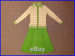 1970's, St. John Knits, sweater and skirt set, in white and lime green, Women size Small