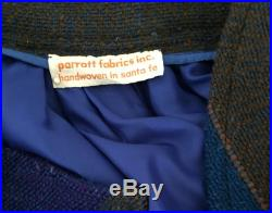 1970s Bold Handwoven Wool Long Skirt With Pockets Created by Alice Kagawa Parrott for Parrot Fabrics Inc. Santa Fe Free Shipping