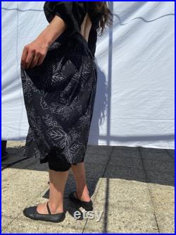 1970s Cacharel black with white leaves print wrap midi skirt, heavyweight cheesecloth extra small small