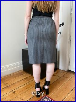 1970s Yves Saint laurent Rive Gauche Vintage Archive Grey Wool Striped Skirt Size 42 fits Small to Medium US 27 28
