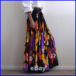 1970s psychedelic floral print maxi skirt long pleated skirt multi color skirt hippie skirt m