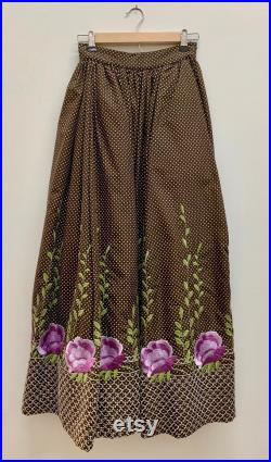 1970s vintage Alolfo raw silk full length skirt brown with white polka dots purple embroidered flowers green leaves at bottom fully lined
