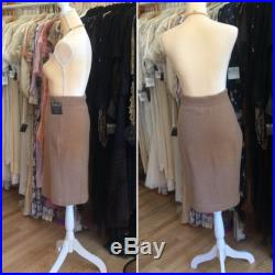 1980s CHANEL Pure Camelhair Knit Pencil Skirt, Made in Scotland, Medium, Taupe Tan Beige
