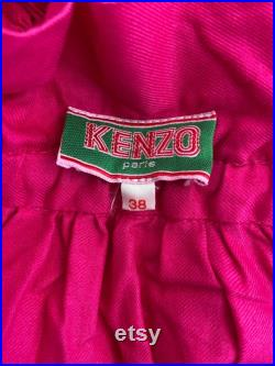 1980s Kenzo hot pink flannel tiered midi skirt, paper bag style waist small