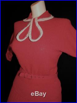 2 piece suit vintage 40's 50's burgundy cherry red wool skirt sweater bow scarf belt bombshell school girl white striped Dolman sleeves -