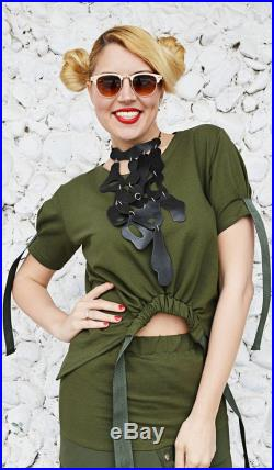 3 in 1 LIMITED Military Outfit, Army Skirt, Military Top, Genuine Leather Necklace, 3 pieces into 1 listing by TEYXO