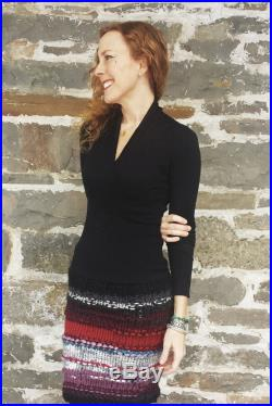30 Off sale- Knit skirt Womens skirts, The Freezing Girl's American made knee length tube skirt in multi colored and textured yarn