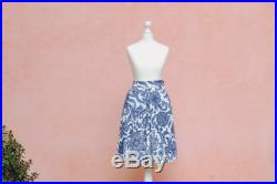 50S FLORAL SKIRT, pleated skirt with blue and white floral motif Sustainable and ethical clothing