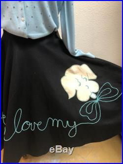 50s Novelty Felt Skirt with Embroidered Dog and Lettering