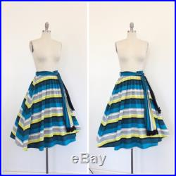 50s Stripe Cotton Full Skirt 1950s Vintage Chartreuse and Cobalt Blue High Waisted Novelty Print Skirt Small 24 inch waist