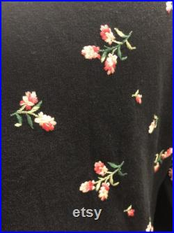 50s black wool skirt and top with embroidered flowers