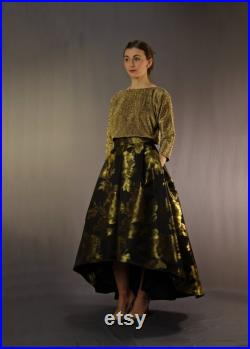 50s style brocade ball skirt with pockets and slanted hem