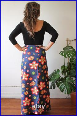 60s Long Wrap Around Skirt Summer of Love Flower Power Floral Pattern Maxi Skirt Austin Powers Psychedelic Hippie Boho Chic Festival