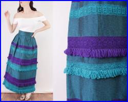 60s Maxi Skirt Teal and Purple Yarn Tassel Detail One of a Kind Rhode Island School of Design 26 inch waist size small unique skirt metallic