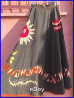 70 s Girasol Maxi Wrap-Skirt with Flora and Fauna Embroidery