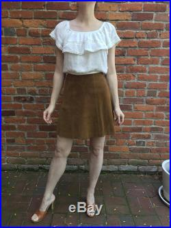 70's Vintage Saks Fifth Avenue Russet Brown Suede Leather High-Waisted Mini Skirt with Cutout Pattern Size XS S