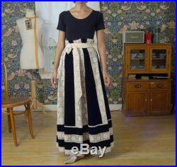 70s deadstock lace and velvet full length maxi skirt with sash fits up to large, up to 38 waist