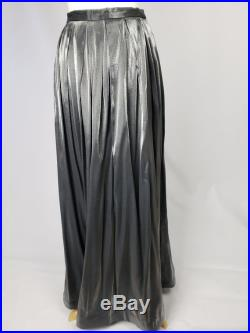 80s 70s Vintage Long Silver Metallic Pleated Skirt by Leslie Fay Small