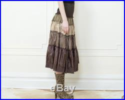 80s brown satin tiered midi skirt medium ombre patchwork gathered full skirt