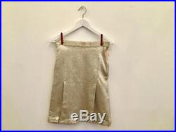 90s Paul Smith silver mini skirt XS S vintage gold metallic pencil skirt pleated skirt