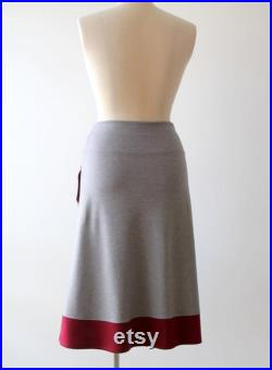 A line Skirt with Pockets, Elastic waist Jersey Skirt, Plus size Skirt, Grey Skirt with Applique, Handmade Skirt, Plus size clothing