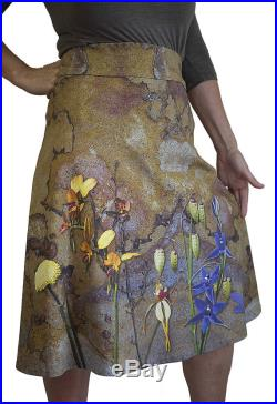 A-line skirt with Native orchids on Stone, organic cotton knit, orchid skirt, wildflowers, hippie skirt