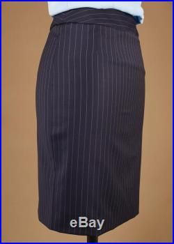 AGNES 60 s striped tailored straight skirt (Navy blue)