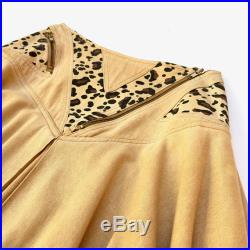 ANTHEA CRAWFORD Vintage 1980s 'Anthea Crawford' flared, yoked skirt with zip detailing and leopard print panels