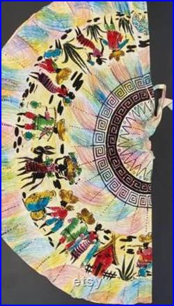 Absolutely stunning sequinned hand painted vintage Mexican circle skirt 25-26 waist