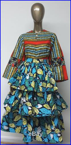 African Prints Three-Tier Midi Skirt. Attached Petticoat. Womens. Handmade. TOP NOT INCLUDED.
