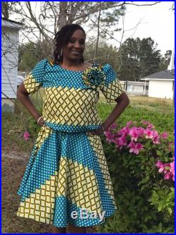 African inspired two-piece top and circle skirt set