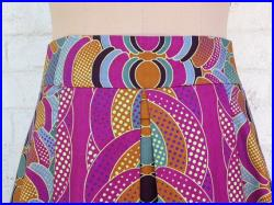 African print fabric by Vlisco, pleated A line skirt, wide waistband, Java print, M,
