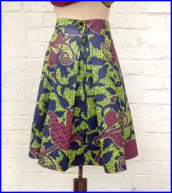 African print fabric by Vlisco, pleated A line skirt, wide waistband, Java print, S, jungle vine print