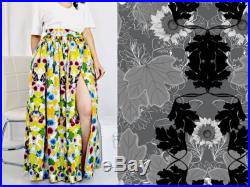 Alicia Skirt- Black and White floral on Gray, Eco-Cotton, Eco-print, High Waist, Ballgown Maxi Skirt with Split by Rehcy Vonne, Made-to-Order