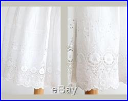 Antique Petticoat Skirt, White Eyelet Lace Trim Embroidery Skirt, White Cotton Lace Skirt, Edwardian Lace Skirt, Bridal Petticoat Skirt